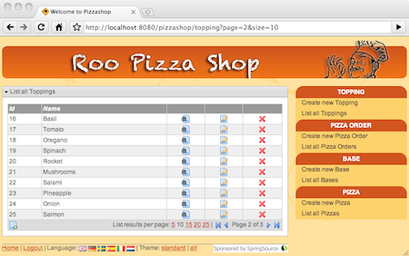 Spring Roo also configures theming support offered by Spring framework so you can leverage this feature with ease.