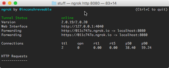 How to tunnel local services via ngrok to CF when using